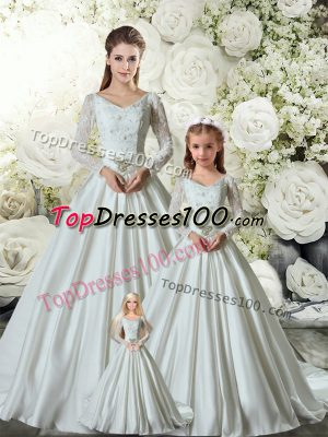 Exquisite White Long Sleeves Chapel Train Lace and Belt 15 Quinceanera Dress