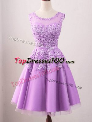 Ideal Lilac Sleeveless Tulle Lace Up Dama Dress for Prom and Party and Wedding Party