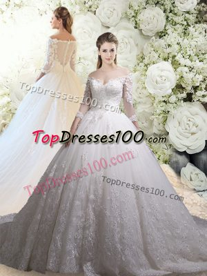 Tulle 3 4 Length Sleeve Wedding Gown Chapel Train and Lace
