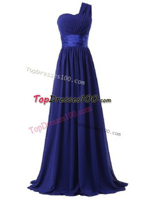Latest Floor Length Royal Blue Quinceanera Court of Honor Dress One Shoulder Sleeveless Lace Up