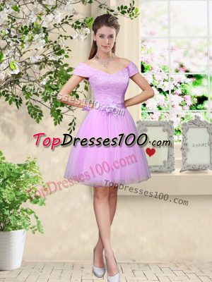 Lilac A-line Tulle V-neck Cap Sleeves Lace and Belt Knee Length Lace Up Quinceanera Dama Dress