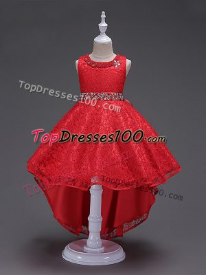 Red Flower Girl Dress Wedding Party with Beading Scoop Sleeveless Lace Up