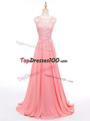 Sleeveless Formal Evening Gowns Brush Train Beading and Lace Watermelon Red Chiffon