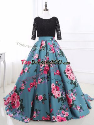Shining Long Sleeves Lace and Appliques Backless Going Out Dresses with Multi-color Brush Train