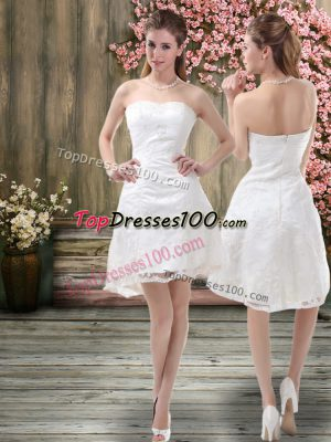 Custom Fit Off The Shoulder Sleeveless Wedding Dresses Mini Length Embroidery White Organza