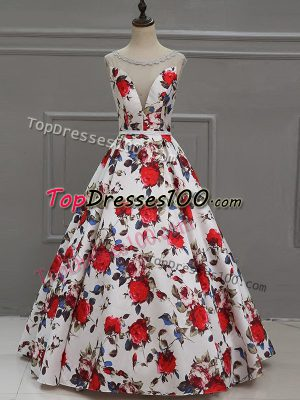 Multi-color A-line Scoop Sleeveless Printed Floor Length Lace Up Pattern Prom Evening Gown