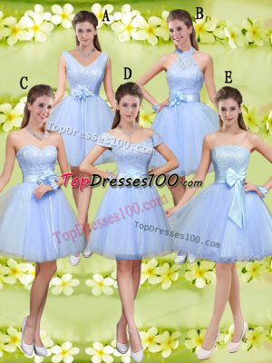 Top Selling Lavender Quinceanera Court of Honor Dress Prom and Party with Lace and Belt V-neck Sleeveless Lace Up