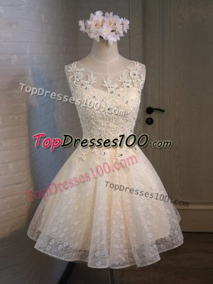 Champagne Lace Up Scoop Lace and Appliques and Belt Prom Dresses Organza and Lace Sleeveless