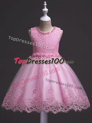 Rose Pink Ball Gowns Lace Girls Pageant Dresses Zipper Tulle Sleeveless Knee Length