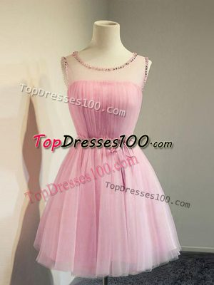 Suitable Sleeveless Tulle Knee Length Lace Up Quinceanera Court of Honor Dress in Rose Pink with Belt