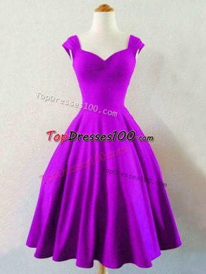 Charming Eggplant Purple Taffeta Lace Up Straps Sleeveless Knee Length Dama Dress for Quinceanera Ruching