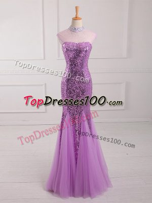 Luxurious Lilac Mermaid Halter Top Sleeveless Tulle and Sequined Floor Length Lace Up Beading and Sequins Evening Dresses