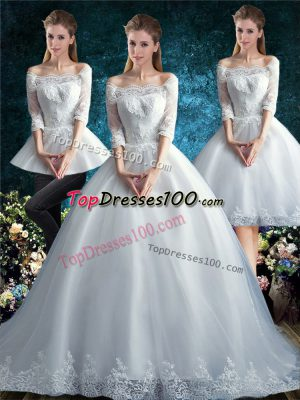 Low Price White Three Pieces Off The Shoulder Half Sleeves Tulle Court Train Clasp Handle Lace Wedding Dresses