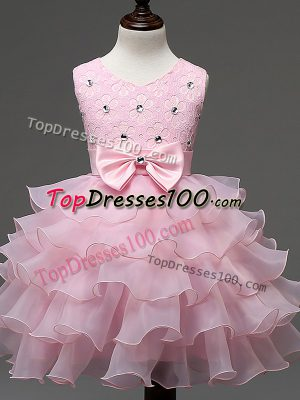 Admirable Baby Pink Ball Gowns Scoop Sleeveless Organza Knee Length Zipper Lace and Ruffled Layers and Bowknot Kids Formal Wear