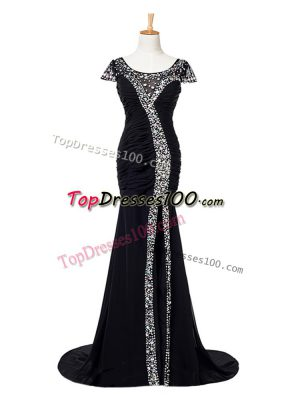 Scoop Cap Sleeves Brush Train Zipper Formal Evening Gowns Black Elastic Woven Satin
