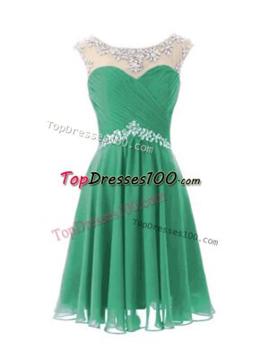 Adorable Turquoise A-line Beading Homecoming Dress Zipper Chiffon Cap Sleeves Knee Length