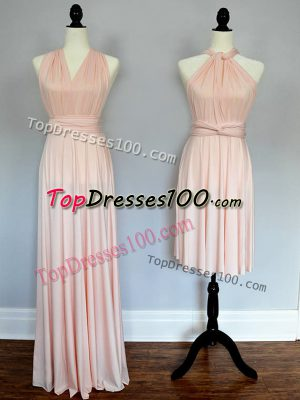 Floor Length Baby Pink and Peach Quinceanera Court of Honor Dress Chiffon Sleeveless Ruching