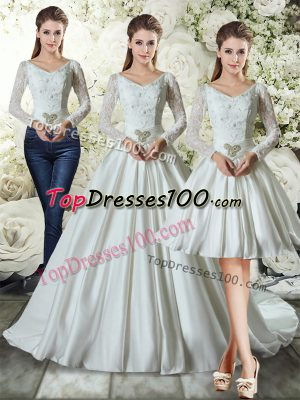 Beauteous V-neck Long Sleeves Wedding Gowns Chapel Train Lace and Belt White Taffeta