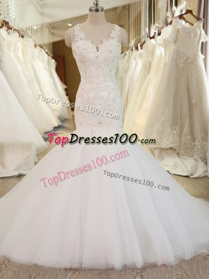 Elegant Tulle V-neck Sleeveless Chapel Train Clasp Handle Beading and Appliques Bridal Gown in White