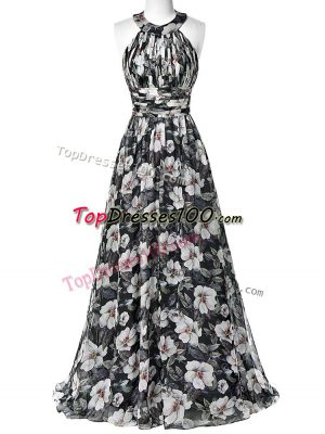 Colorful Multi-color Printed Zipper Homecoming Dress Sleeveless Floor Length Ruching