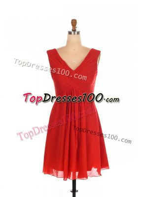Red Zipper One Shoulder Ruching Dama Dress for Quinceanera Chiffon Sleeveless