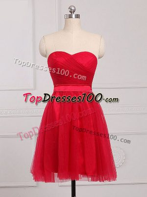Tulle Sweetheart Sleeveless Zipper Ruching Court Dresses for Sweet 16 in Red