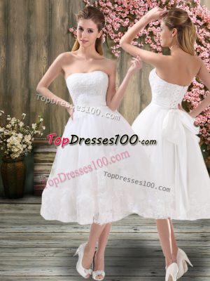 Simple A-line Bridal Gown White Sweetheart Organza Sleeveless Tea Length Lace Up