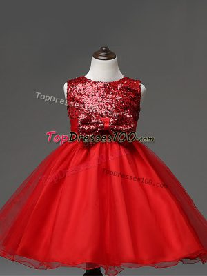 Sleeveless Tulle Tea Length Zipper Little Girls Pageant Dress Wholesale in Red with Sequins and Bowknot