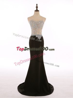 Vintage Sleeveless Chiffon Brush Train Zipper Going Out Dresses in Black with Beading