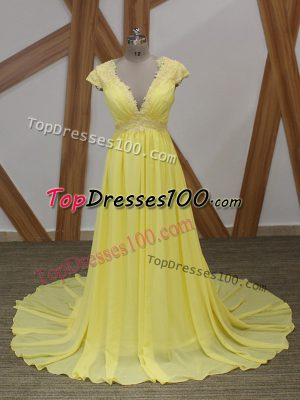 Elegant V-neck Short Sleeves Prom Evening Gown Brush Train Lace and Appliques Yellow Chiffon