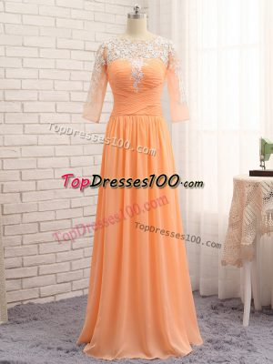 Popular Orange Chiffon Zipper Bateau Long Sleeves Floor Length Evening Outfits Lace and Appliques and Ruching