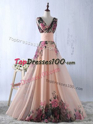 Unique V-neck Sleeveless Printed Prom Gown Ruching Lace Up