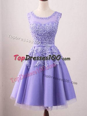 Trendy Knee Length Lace Up Vestidos de Damas Lavender for Prom and Party and Wedding Party with Lace