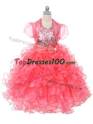 Coral Red Ball Gowns Ruffles and Sequins and Bowknot Little Girl Pageant Gowns Lace Up Organza Sleeveless Floor Length