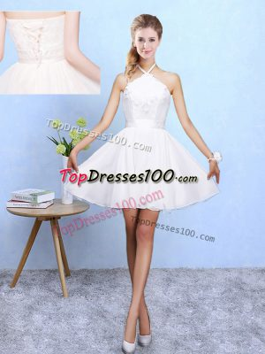 Great White Chiffon Lace Up Dama Dress for Quinceanera Sleeveless Mini Length Lace and Appliques