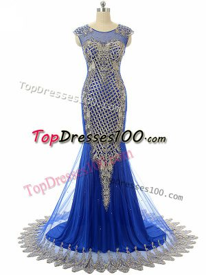 Cheap Royal Blue Mermaid Beading and Lace and Appliques Formal Dresses Side Zipper Tulle Sleeveless