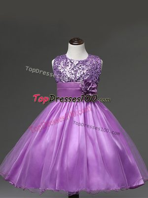 Lilac Ball Gowns Scoop Sleeveless Tulle Knee Length Zipper Sequins and Hand Made Flower Kids Pageant Dress