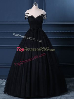 Enchanting Black Tulle Side Zipper Scoop Short Sleeves Floor Length Evening Gowns Beading