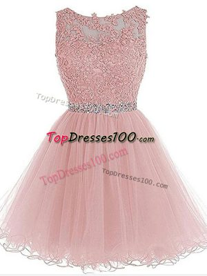 Pink Zipper Dress for Prom Beading and Lace and Appliques Sleeveless Mini Length