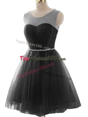Black Lace Up Dress for Prom Beading and Ruching Sleeveless Mini Length