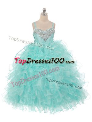 Straps Sleeveless Little Girls Pageant Dress Wholesale Floor Length Beading and Ruffles Aqua Blue Organza