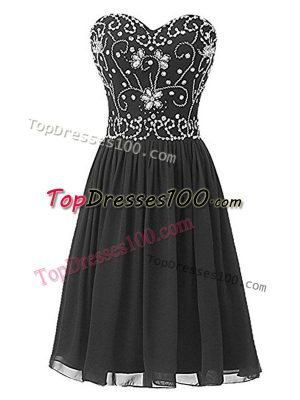 Knee Length Black Prom Evening Gown Chiffon Sleeveless Beading