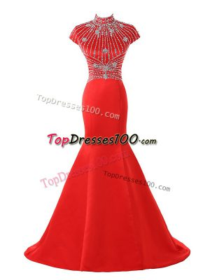 Zipper Juniors Evening Dress Coral Red for Prom and Military Ball with Beading Sweep Train