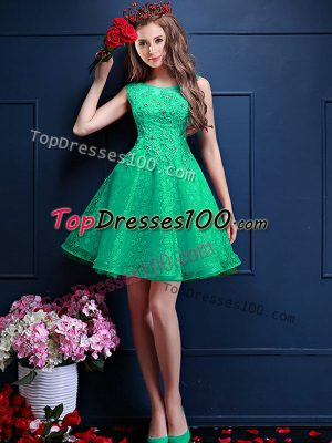 Apple Green A-line Bateau Sleeveless Tulle Knee Length Lace Up Lace and Appliques Quinceanera Court of Honor Dress