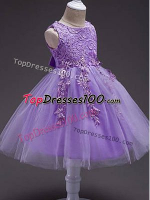 Lavender Zipper Scoop Lace and Belt Little Girl Pageant Dress Tulle Sleeveless