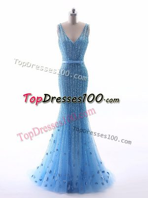 Baby Blue Sleeveless Floor Length Beading and Belt and Hand Made Flower Zipper Evening Outfits