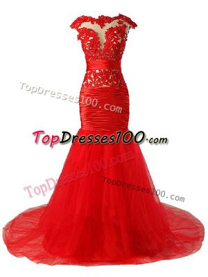 Modest Tulle Scoop Cap Sleeves Brush Train Zipper Lace and Appliques and Ruching Prom Dresses in Red