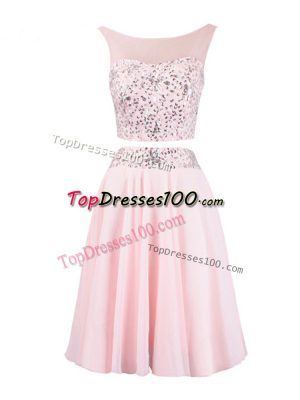 Customized Scoop Sleeveless Zipper Baby Pink Organza
