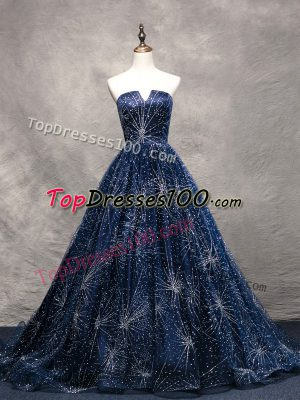 Best Selling Navy Blue Tulle Lace Up V-neck Sleeveless Dress for Prom Brush Train Beading