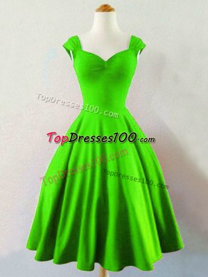 Discount Taffeta Lace Up Dama Dress for Quinceanera Sleeveless Knee Length Ruching